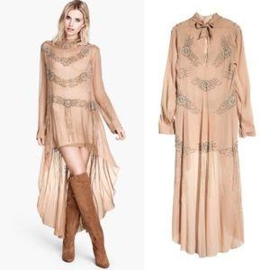 H&M Paris Beige Beaded Sheer Chiffon Dress NEW!